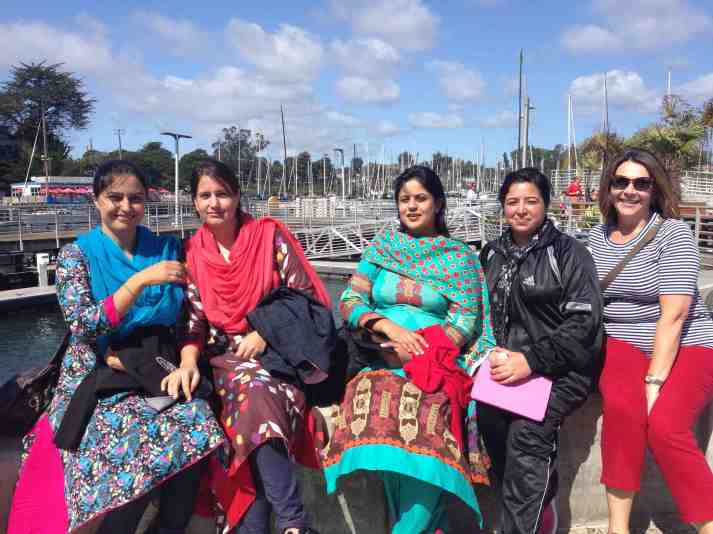 AJKU and AIOU women with Roula at Santa Cruz Harbor