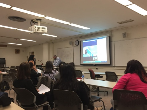 Professor of Communications at SJSU, Jason Laker with his class on Gender and Emotional Intelligence facilitating communication between a student and an AIOU counterpart.